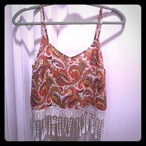 paisley print crop top with tassels size small